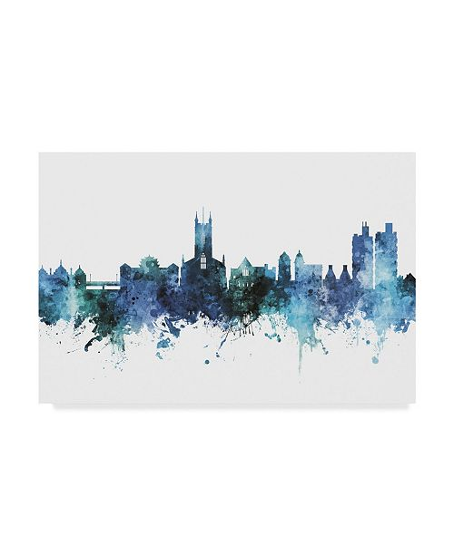 "Trademark Global Michael Tompsett Stoke-On-Trent England Skyline Blue Canvas Art - 37"" x 49"""