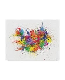 "Michael Tompsett Iceland Paint Splashes Map Canvas Art - 20"" x 25"""