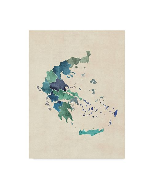"Trademark Global Michael Tompsett Greece Watercolor Map Turquoise Canvas Art - 15"" x 20"""