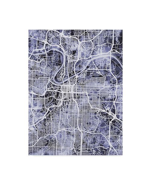 "Trademark Global Michael Tompsett Kansas City Missouri City Map Blue Canvas Art - 20"" x 25"""