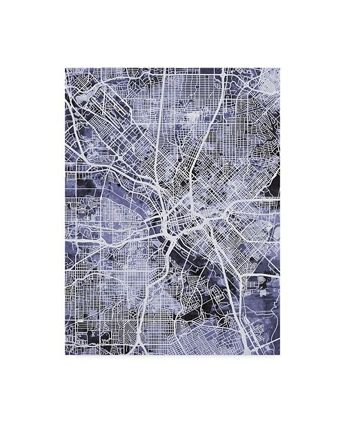 "Trademark Global Michael Tompsett Dallas Texas City Map Blue Canvas Art - 37"" x 49"""