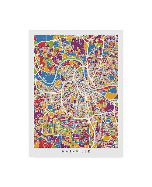 "Trademark Global Michael Tompsett Nashville Tennessee City Map Color Canvas Art - 37"" x 49"""