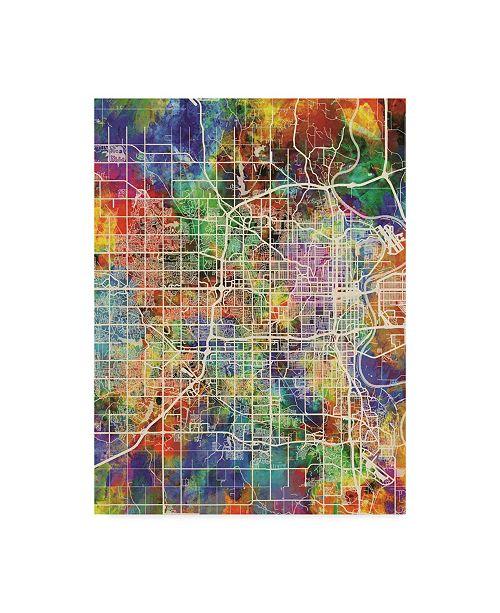 "Trademark Global Michael Tompsett Omaha Nebraska City Map Canvas Art - 37"" x 49"""