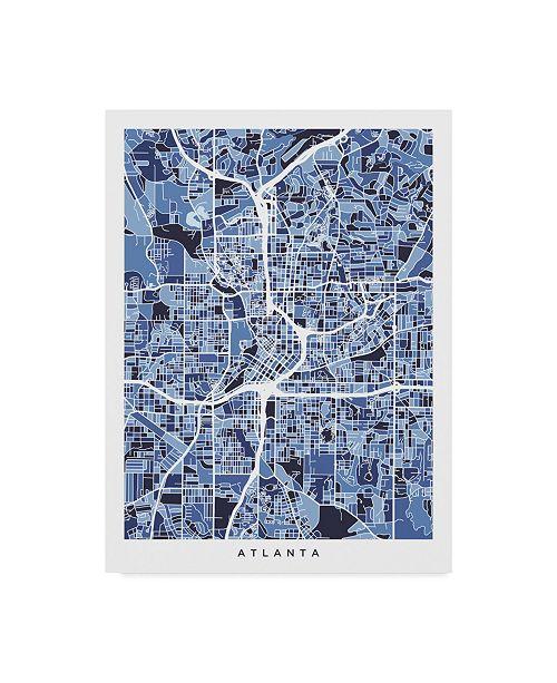 "Trademark Global Michael Tompsett Atlanta Georgia City Map Blue Canvas Art - 20"" x 25"""
