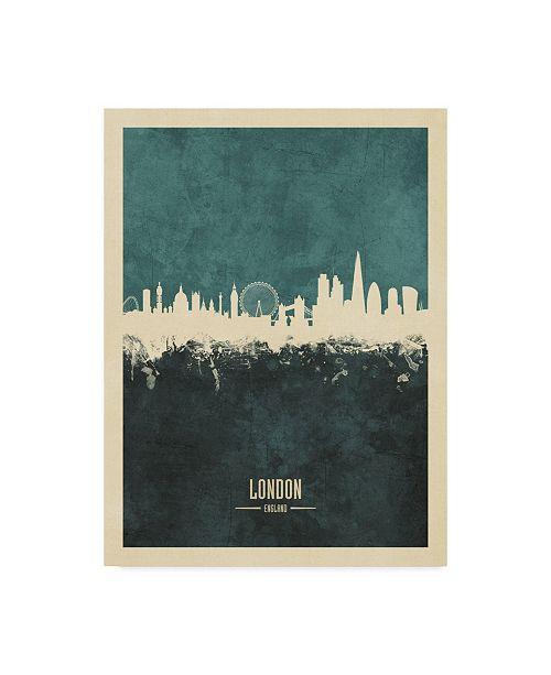 "Trademark Global Michael Tompsett London England Skyline Poster Teal Canvas Art - 37"" x 49"""