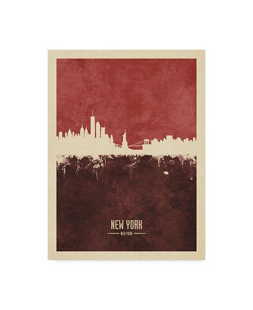 "Trademark Global Michael Tompsett New York Skyline Red II Canvas Art - 37"" x 49"""