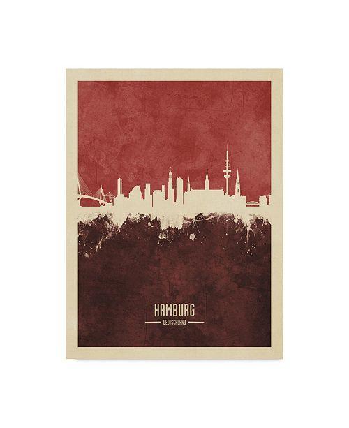 "Trademark Global Michael Tompsett Hamburg Germany Skyline Red II Canvas Art - 20"" x 25"""