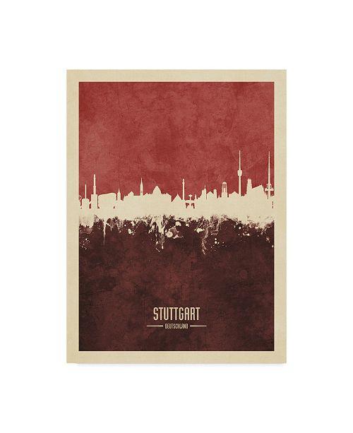 """Trademark Global Michael Tompsett Stuttgart Germany Skyline Red II Canvas Art - 37"""" x 49"""""""