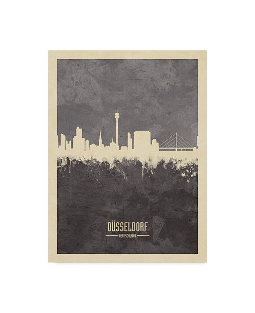 "Trademark Global Michael Tompsett Dusseldorf Germany Skyline Gray Canvas Art - 37"" x 49"""