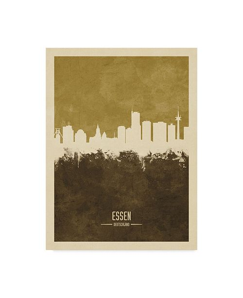 "Trademark Global Michael Tompsett Essen Germany Skyline Brown Canvas Art - 37"" x 49"""
