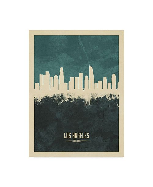 "Trademark Global Michael Tompsett Los Angeles California Skyline Teal Canvas Art - 37"" x 49"""