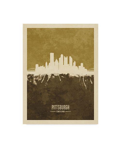 "Trademark Global Michael Tompsett Pittsburgh Pennsylvania Skyline Brown Canvas Art - 15"" x 20"""