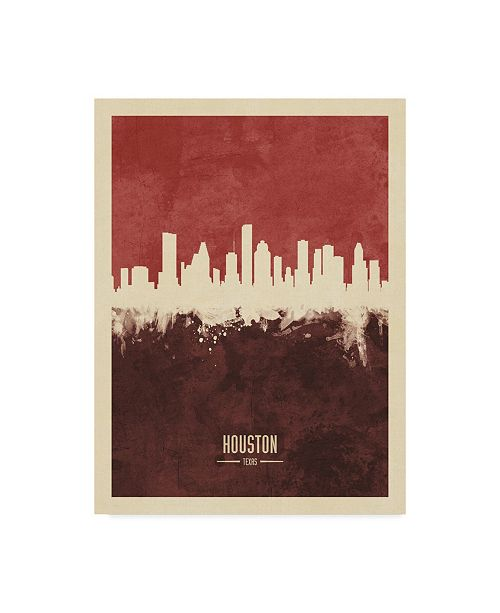 "Trademark Global Michael Tompsett Houston Texas Skyline Red II Canvas Art - 37"" x 49"""
