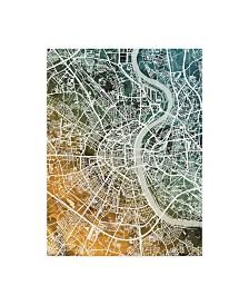 "Michael Tompsett Cologne Germany City Map Teal Orange Canvas Art - 37"" x 49"""
