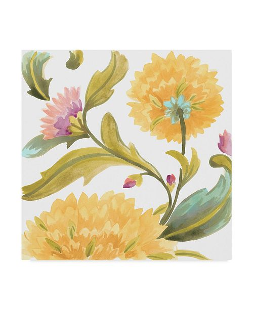 "Trademark Global June Erica Vess Abbey Floral Tiles III Canvas Art - 27"" x 33"""