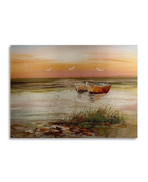 """Trademark Global Masters Fine Art Florida Sunset Floating Brushed Aluminum Art - 22"""" x 25"""""""