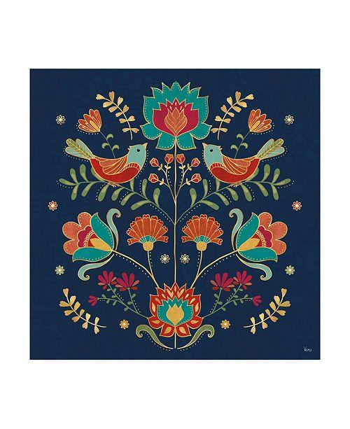 "Trademark Global Veronique Charron Folk Floral 2 Dark Canvas Art - 27"" x 33"""