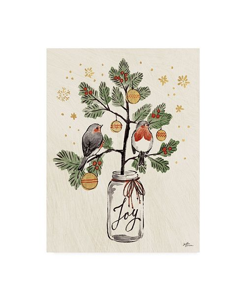 "Trademark Global Janelle Penner Christmas Lovebirds VII Canvas Art - 20"" x 25"""