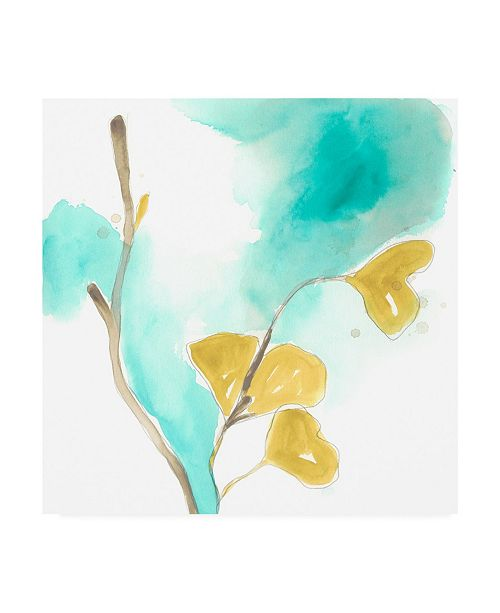 "Trademark Global June Erica Vess Teal and Ochre Ginko I Canvas Art - 27"" x 33"""