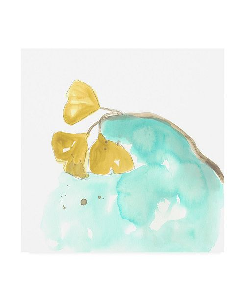 "Trademark Global June Erica Vess Teal and Ochre Ginko VI Canvas Art - 15"" x 20"""