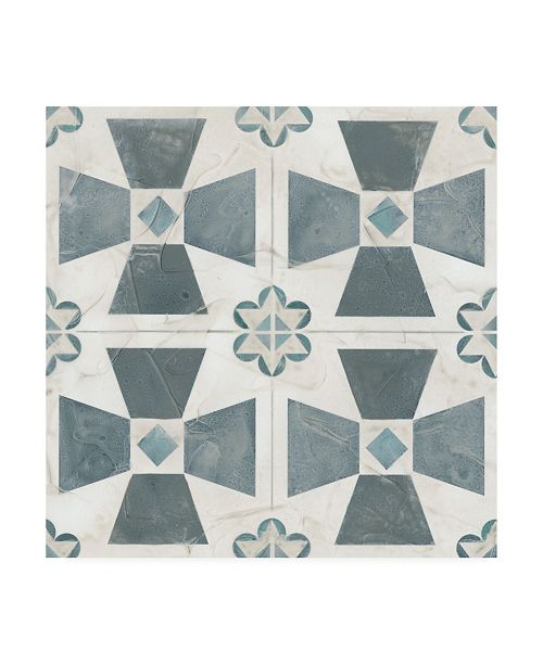 "Trademark Global June Erica Vess Teal Tile Collection IV Canvas Art - 15"" x 20"""