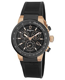 ferragamo ferragamo macy s ferragamo watch men s swiss chronograph f 80 black rubber strap 44mm f55lcq75909s113
