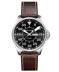 Watch, Men's Swiss Khaki Pilot Brown Leather Strap 42mm H64611535
