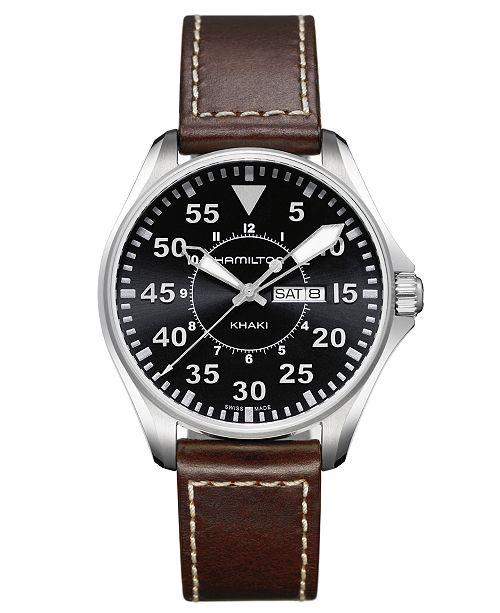 Hamilton Watch Men S Swiss Khaki Pilot Brown Leather Strap 42mm H64611535 Reviews All Fine Jewelry Jewelry Watches Macy S