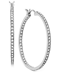 "Rhodium-Plated 1-1/4"" Crystal Somerset Hoop Earrings"