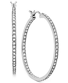 "Swarovski Rhodium-Plated 1-1/4"" Crystal Somerset Hoop Earrings"