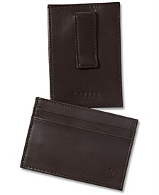 Lauren by Ralph Lauren Burnished Leather Card Case with Money Clip