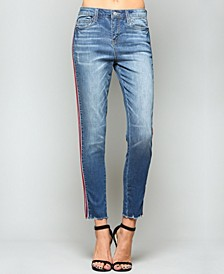 Mid Rise Tuxedo Ankle Skinny Jeans