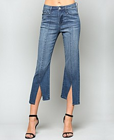 High Rise Pin Tuck Crop Flare Jeans with Front Back Slit Hem