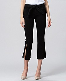 Mid Rise Side Slit Crop Flare Jeans with Self Tie Belt