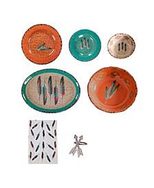 Feather Melamine 25 Piece Set, Service for 4