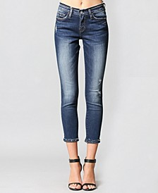 Mid Rise Crop Skinny Jeans with Inverted Release Hem
