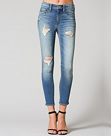 Mid Rise Distressed Crop Skinny Jeans