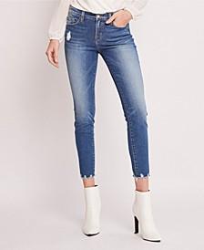 Mid Rise Hem Detail Crop Skinny Jeans
