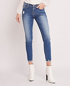 Flying Monkey Mid Rise Hem Detail Crop Skinny Jeans