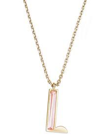 "Gold-Tone Enamel Initial Pendant Necklace, 16"" + 3"" extender"