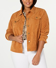 Monteau Trendy Plus Size Corduroy Jacket