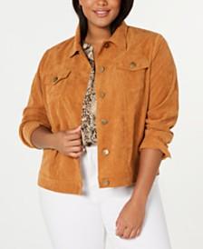 Monteau Trendy Plus Size Corduroy Jacket