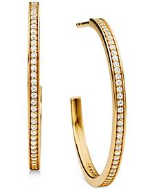 """Medium Crystal Pavé Hoop Earrings 1-1/5"""""""