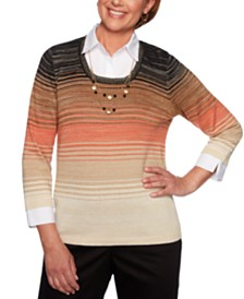 Alfred Dunner Street Smart Ombré Layered-Look Top