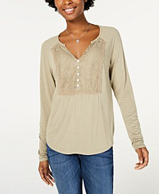 Juniors' Lace-Bib Top, Created for Macy's