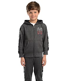 Little Boys Wyatt Full-Zip Fleece Logo Hoodie