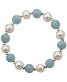 Aquamarine (10mm) & Cultured Freshwater Pearl (9-1/2mm) Stretch Bracelet in 14k Gold (Also in Lapis Lazuli)