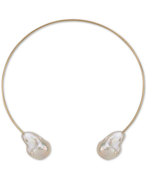 """Macy's Cultured Baroque Freshwater Pearl (14-18mm) 14"""" Choker Necklace in 14k Gold"""