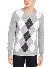 Men's Pima Argyle V-Neck Sweater, Created for Macy's