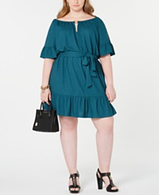 Michael Michael Kors Plus Size Cutout-Neck Ruffled Dress
